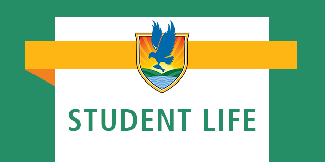 "banner that says ""Student Life"" with LSSC crest"