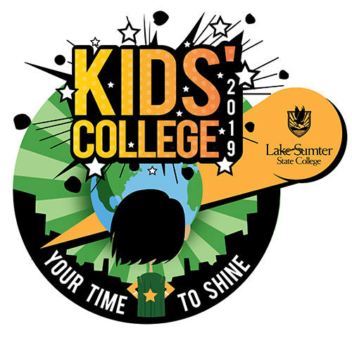 Kids College logo, boy with cape looking at earth with city skyline