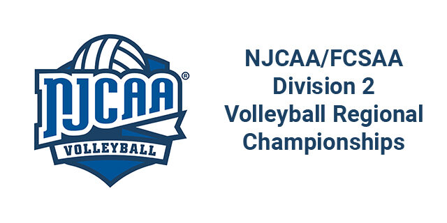 NJCAA logo with text of NJCAA/FCSAA Division 2 Volleyball Regional Championships