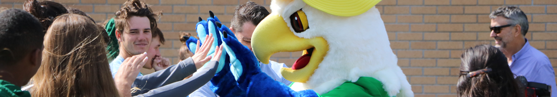 Bird mascot with big yellow beak, giving a high five to students in a crowd