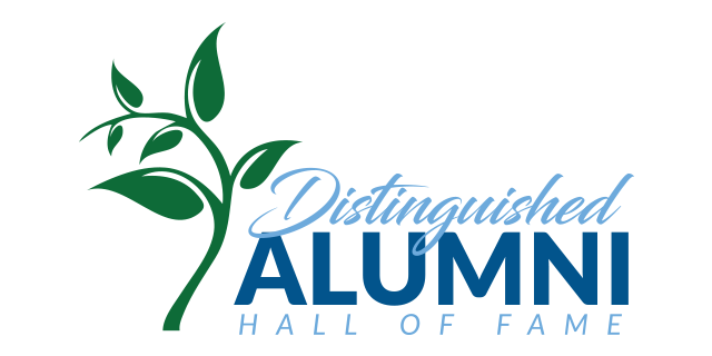 Distinguished Alumni and Hall of Fame text logo with green branch and leaves
