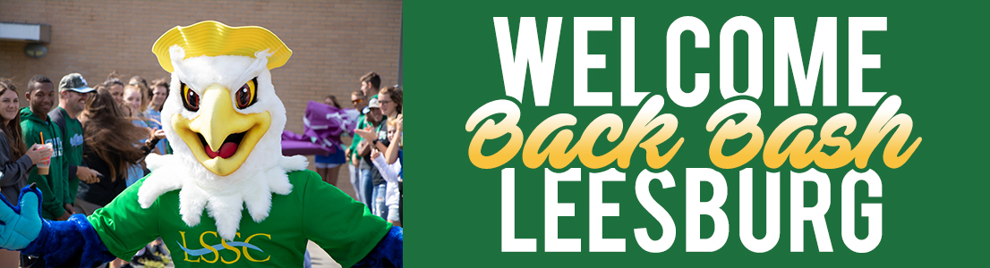 "horizontal banner of bird mascot running through crowd of students with text ""Today: Welcome Back Bash Leesburg"""