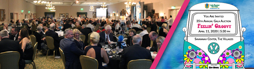 Photo of a large room of people seated at tables for dinner besides the LSSC 2020 Foundation Gala logo titled Feelin Groovy