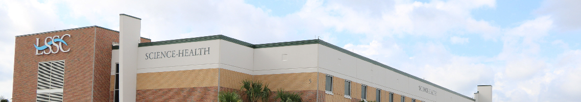 LSSC Science-Health Building, view from outside building on an angle