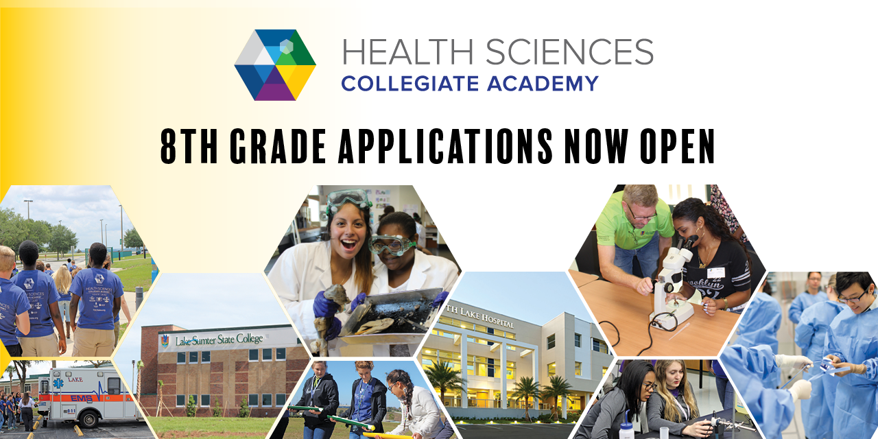 Health Sciences Collegiate Academy flyer with photos of students participating in activities