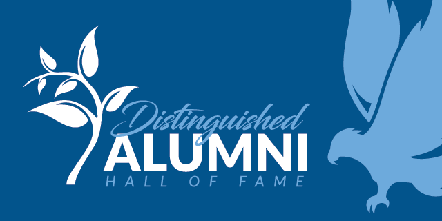 Distinguished Alumni and Hall of Fame text logo with branch and leaves