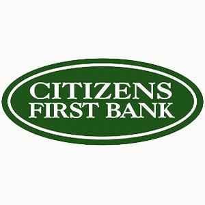 Citizens first bank text in white, inside an green oval graphic