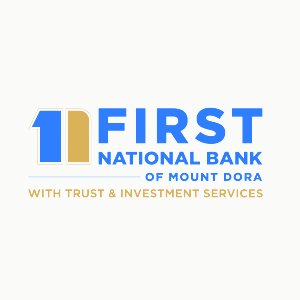 text: first national bank of mount dora with decorative graphic in blue and gold