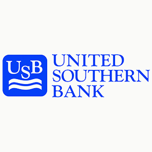 text: United southern bank in blue