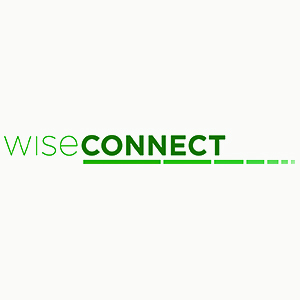 text: wise connect in green