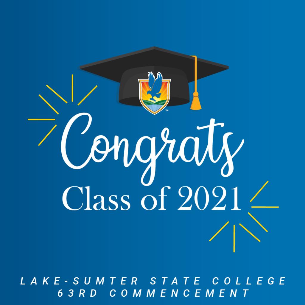 Text under a grad cap: Congrats Class of 2021