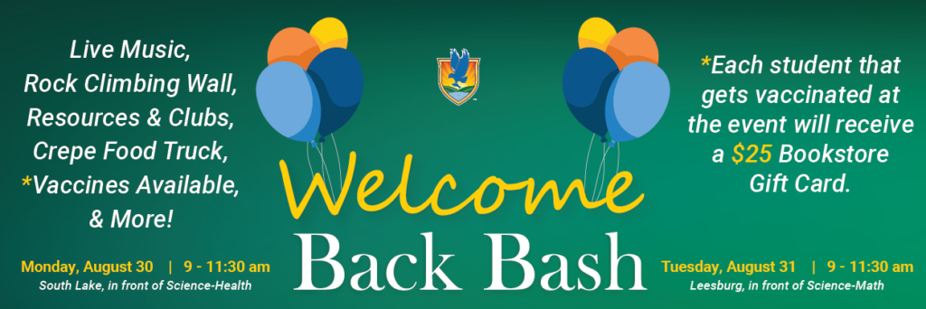 Welcome Back Bash text with balloons and event details
