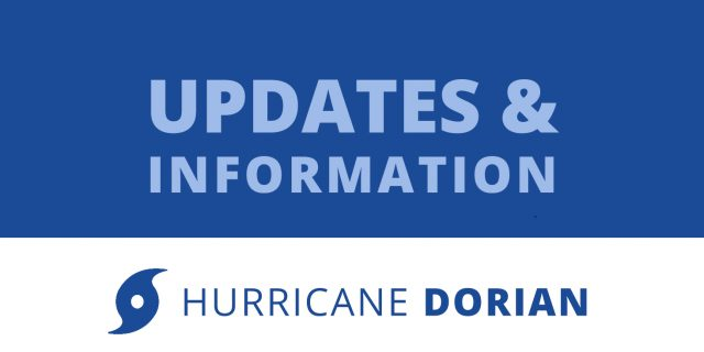 Text: Updates and Information on Hurricane Dorian