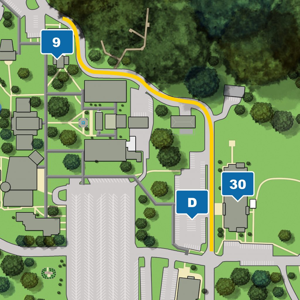 Leesburg campus map highlight roadway closure from Science-Math Building to Student Center