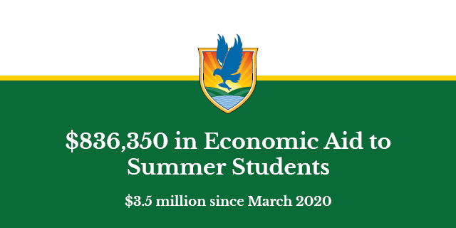 Text: $836,350 in economic aid to Summer Students