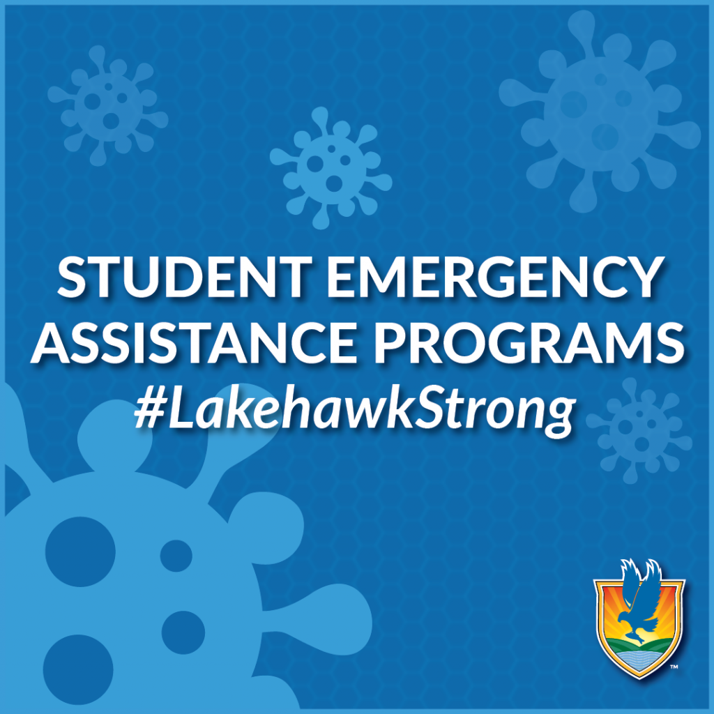 Text reading Student Emergency Assistance Programs #LakehawkStrong over a blue background with virus graphics