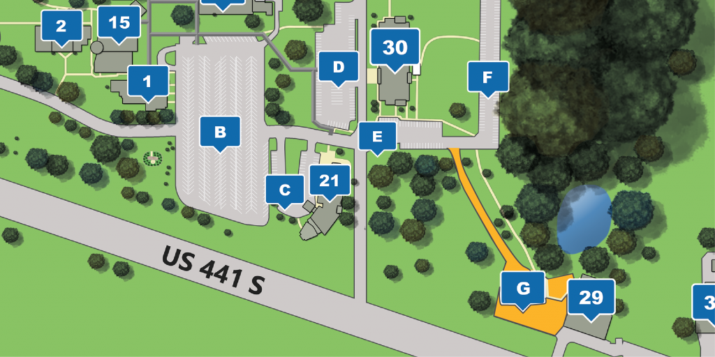 Section of a campus map with Parking Lot G and road connecting to Lot E highlighted