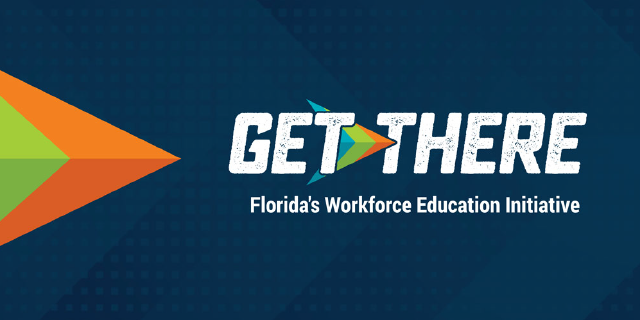 Dark blue background with white Get There FLorida's Workforce Education Initiative text