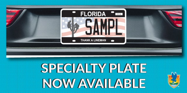 Thank a Lineman specialty plate with men climbing utility pole featured