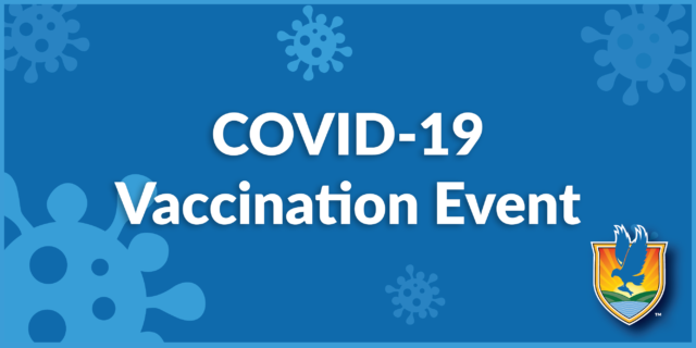 Blue background with white text reading COVID-19 Vaccination Event with LSSC logo in lower-right corner