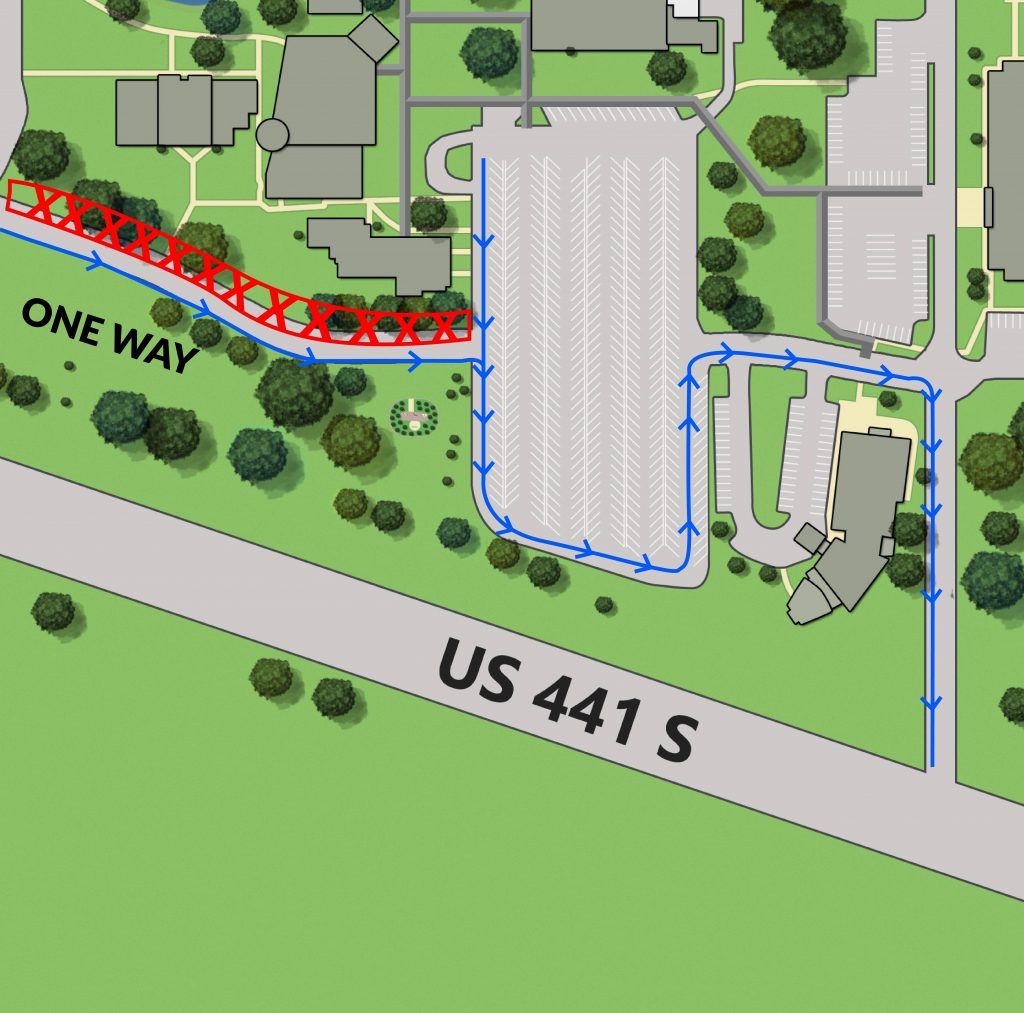 Detail graphic showing closure of one lane of entry road from College Drive off US-441