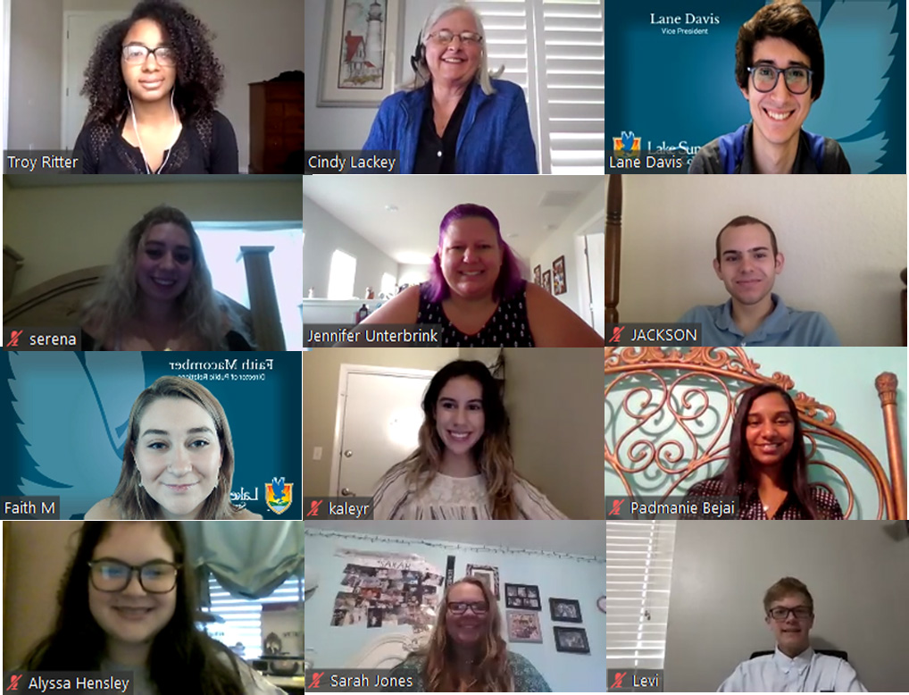 A grid of 12 smiling SGA students and their staff advisors on a video conference