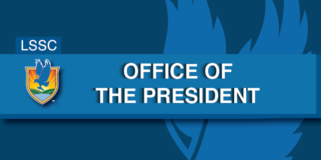 Blue background with headline bar reading LSSC Office of the President